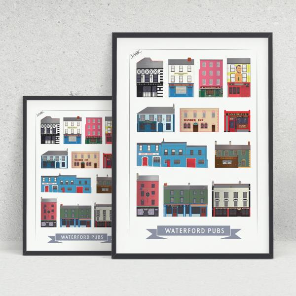 12 Pubs of Waterford Print